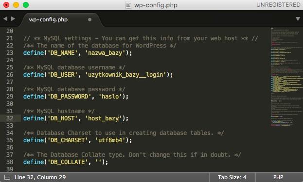 Zmiany w pliku wp-config.php